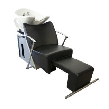 Poltrona Muster lavatesta per parrucchieri con poggiagambe allungabile manualmente